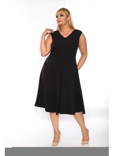 Angelino Butik Büyük Beden Sıfır Kol Scuba Elbise KL900  Siyah